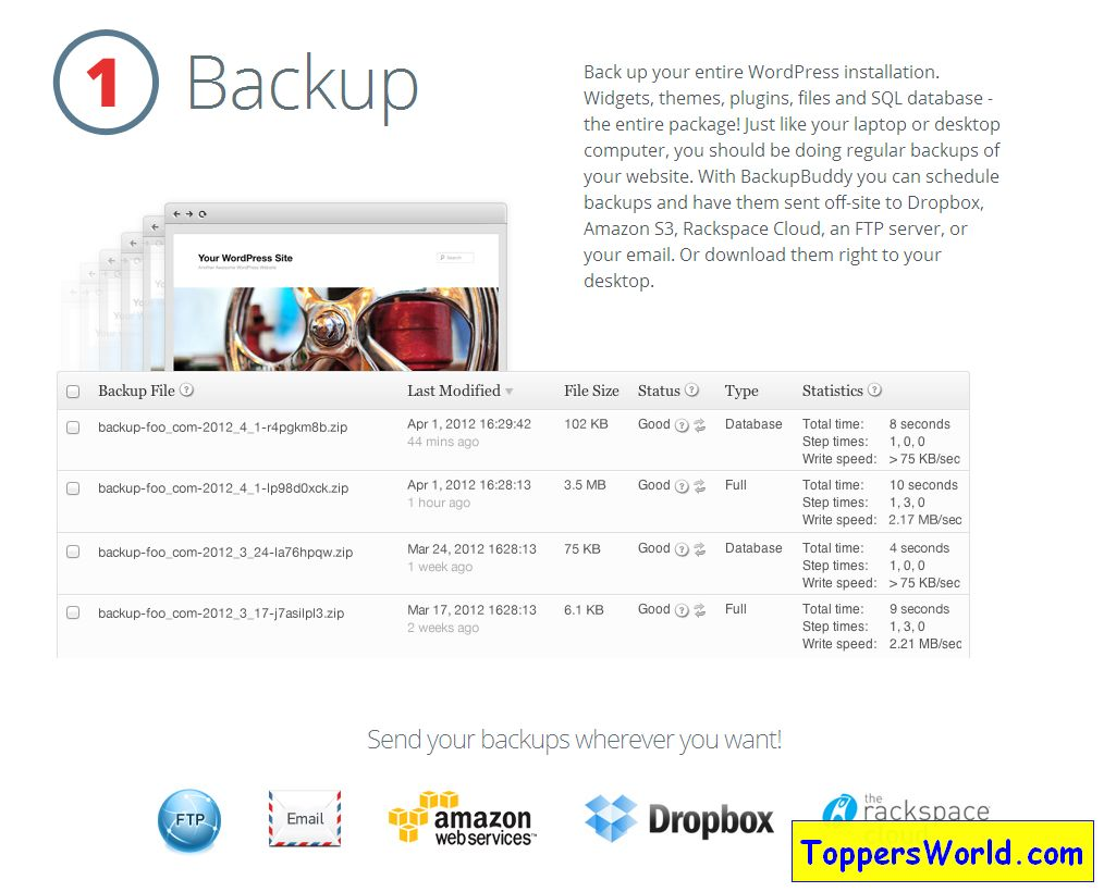 BackupBuddy - the premiere WordPress backup plugin to backup, restore and move WordPress