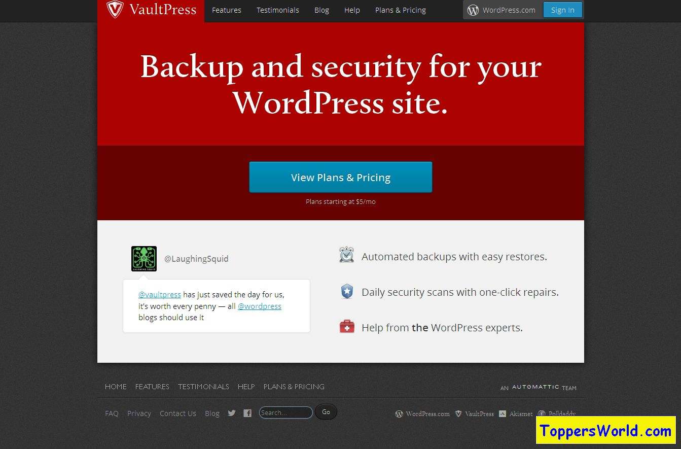 VaultPress - WordPress Backup and Security