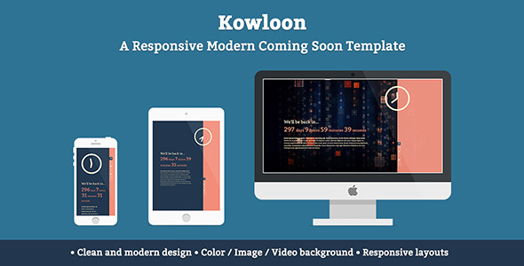 Kowloon A Responsive Modern Coming Soon Template
