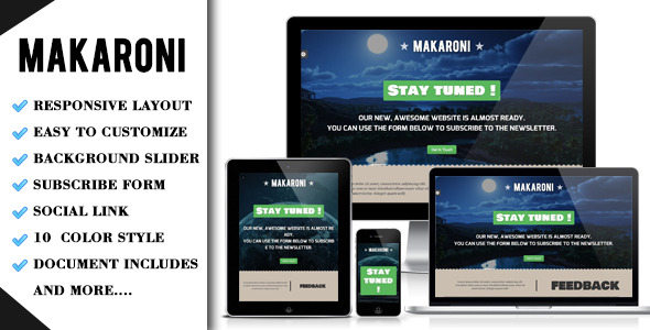 Makaroni Responsive Under construction Template