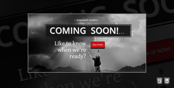 StopWatch Coming Soon HTML5 Template