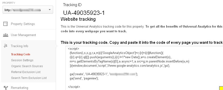 Google Analytics Settings and TrackingCode