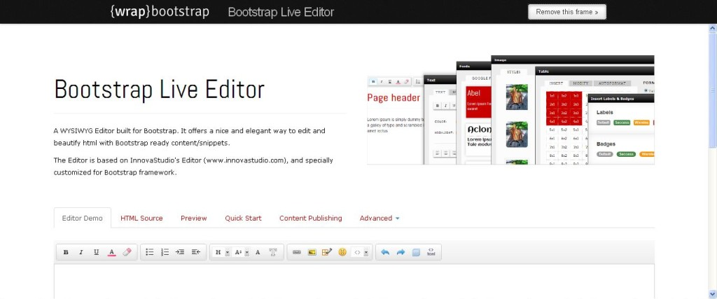 Bootstrap Live Editor WrapBootstrap