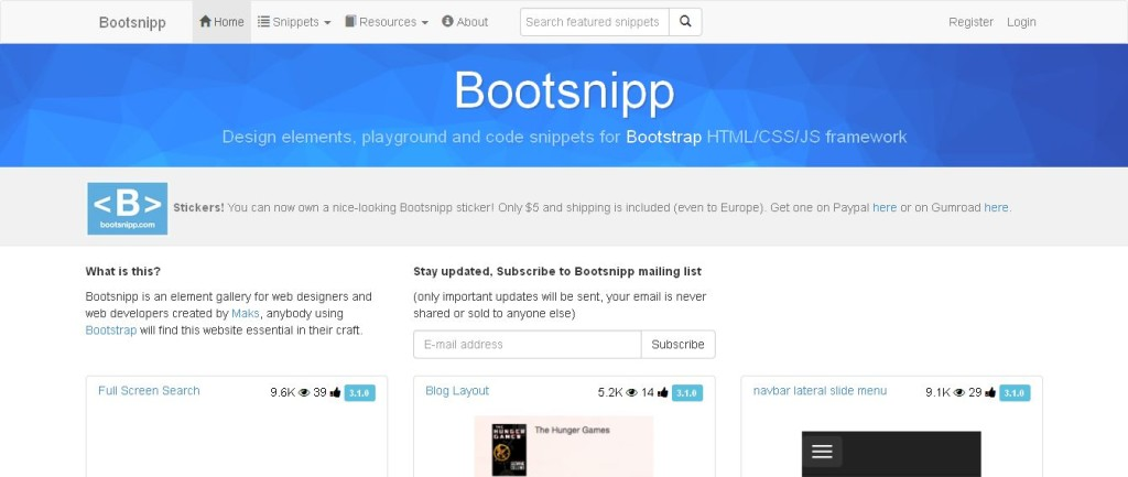 Bootstrap Tool Bootsnipp