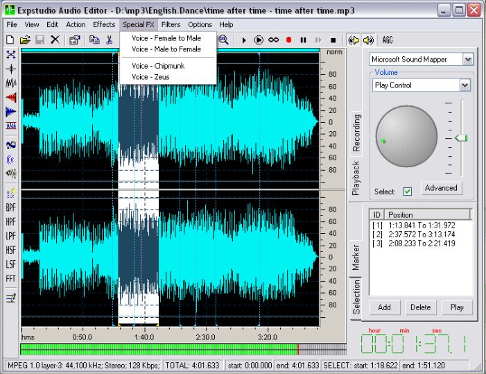 Free Audio Editor, Free mp3 audio editor