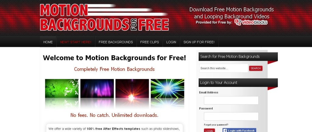 Free Motion Backgrounds and Looping Backgrounds
