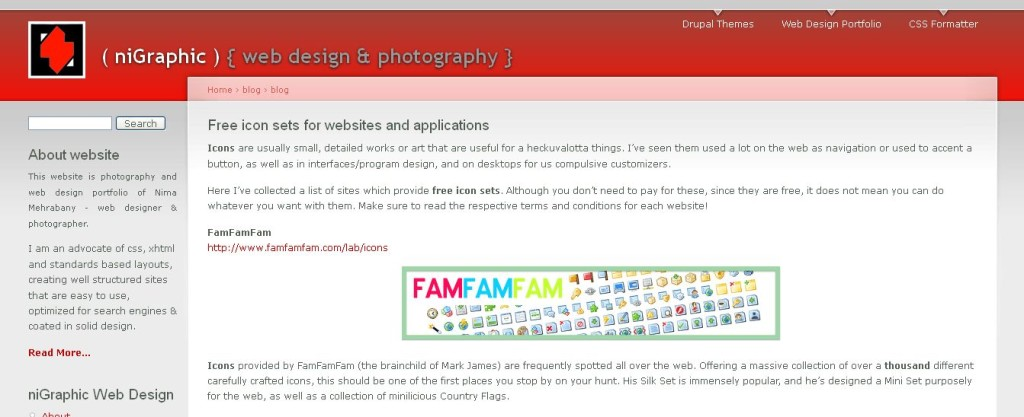 Free icon sets for websites and applications