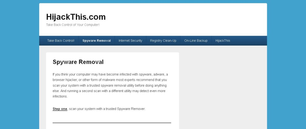 Hijackthis_com Spyware Removal Internet Security Registry Clean-up