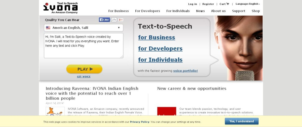 IVONA Text-to-Speech Text To Voice