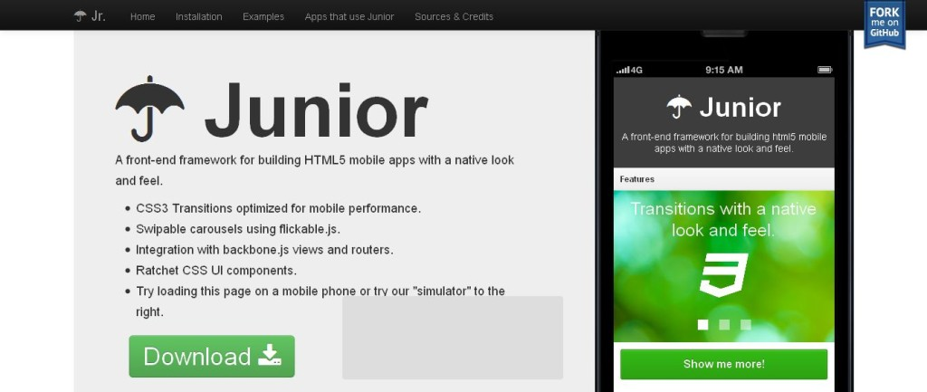 Junior - A front-end framework for building HTML5 mobile apps