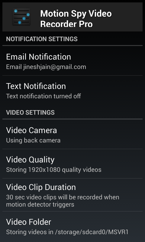 Motion Spy Video Recorder Pro Android