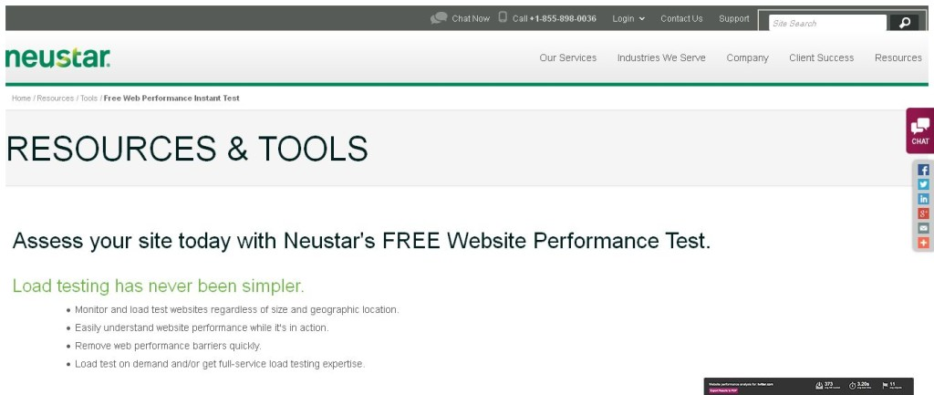 Neustar Free Load Testing Website Performance Test