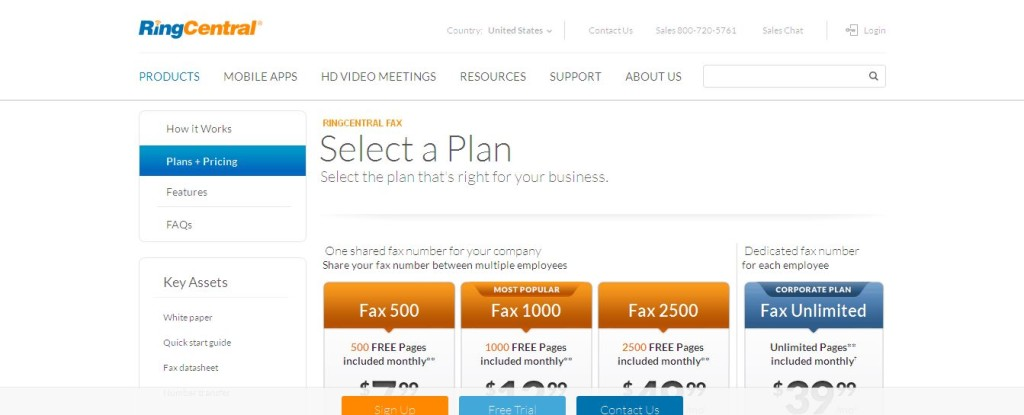 RingCentral Internet Fax Plans and Pricing