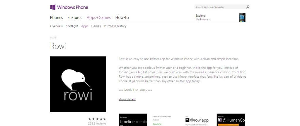 Rowi I Windows Phone Apps