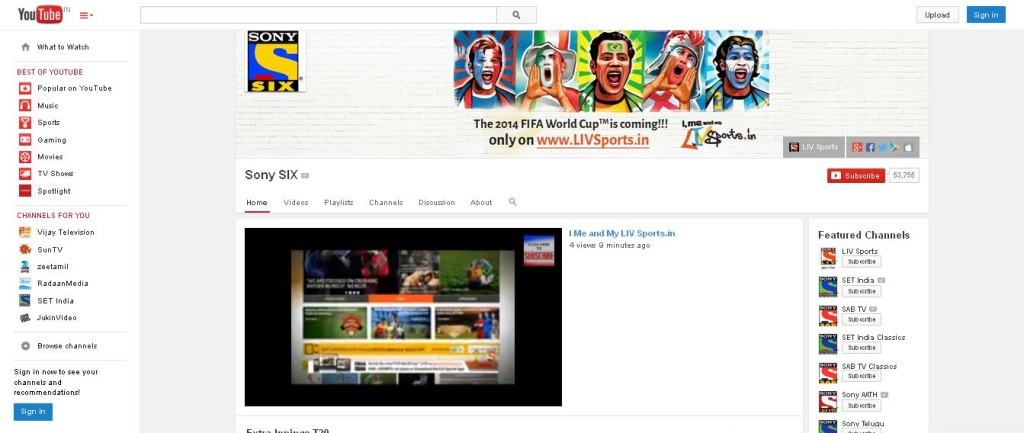 Sony SIX - YouTube Live Football