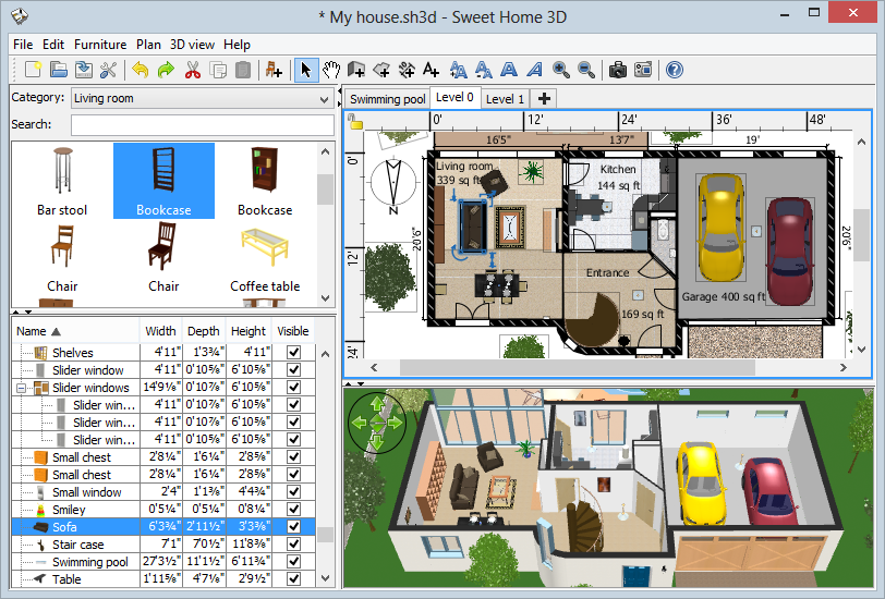 SweetHome3DWindows CAD Software