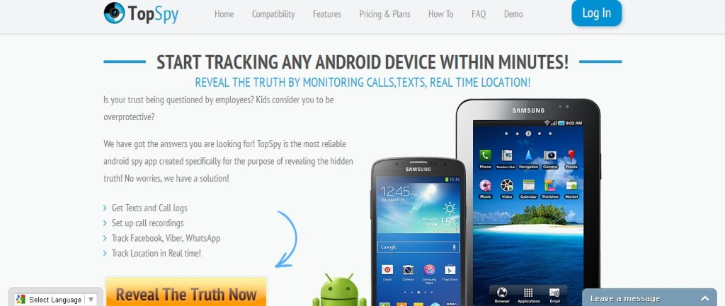 TopSpy– powerful, yet totally undetectable Android spy software