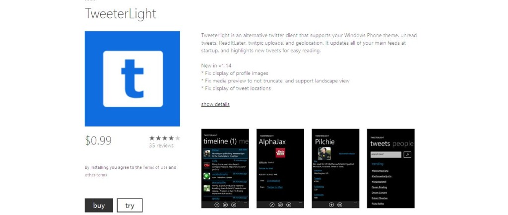 TweeterLight I Windows Phone Apps