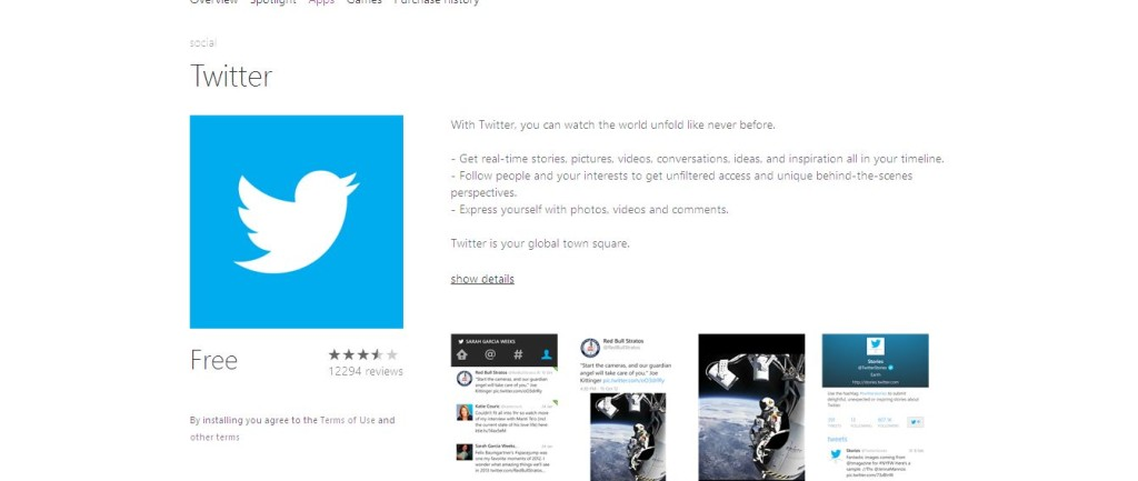 Twitter Windows Phone Apps+Games Store