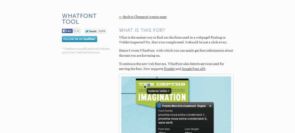 WhatFont Tool inspect fonts in webpages