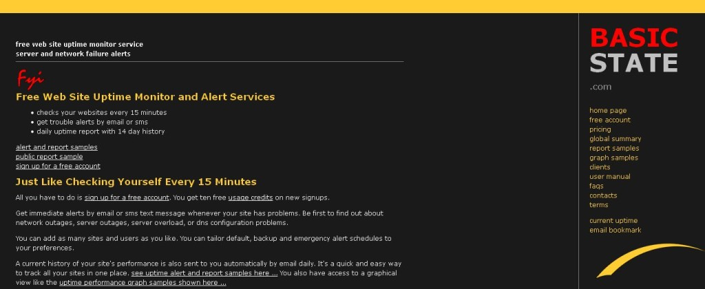 free web site uptime monitor service - server and network failure alerts