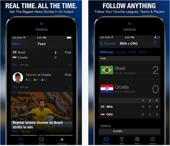 theScore on the App FiFA Word Cup