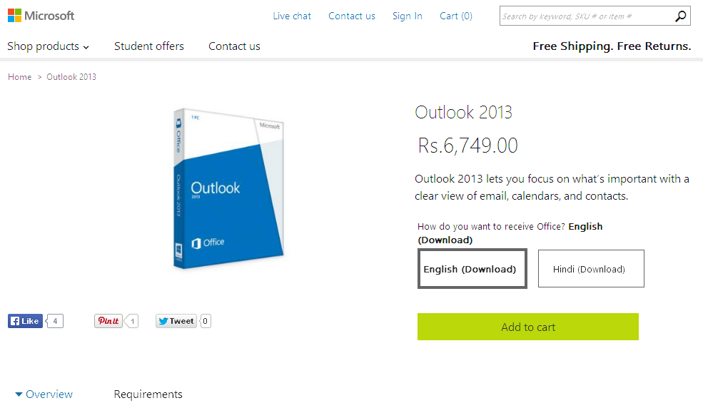 Buy Outlook 2013 - Microsoft Store India Online Store
