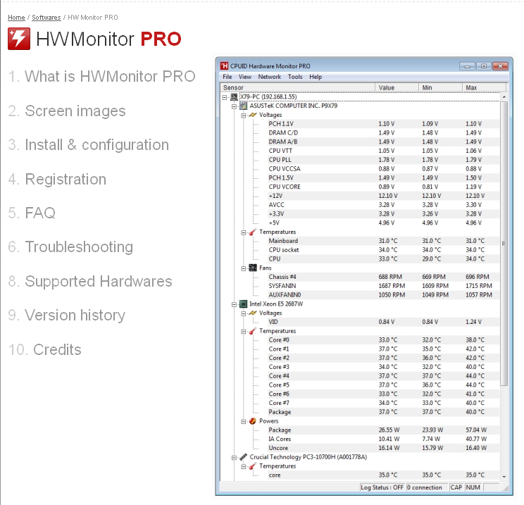 HWMonitor PRO CPUID - System & hardware benchmark, monitoring, reporting