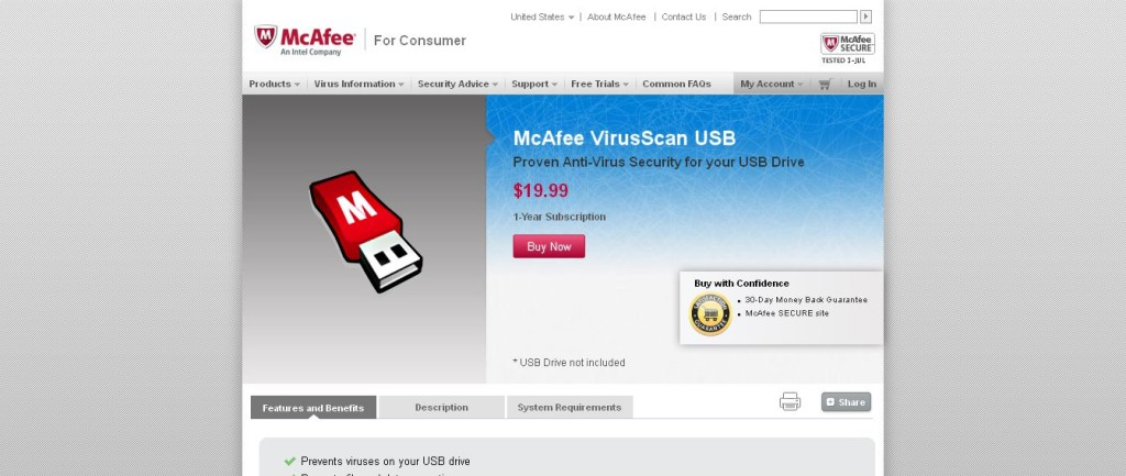Virus Scan, Antivirus Software USB McAfee