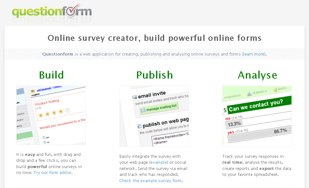 Create Online Surveys and Forms-QuestionForm