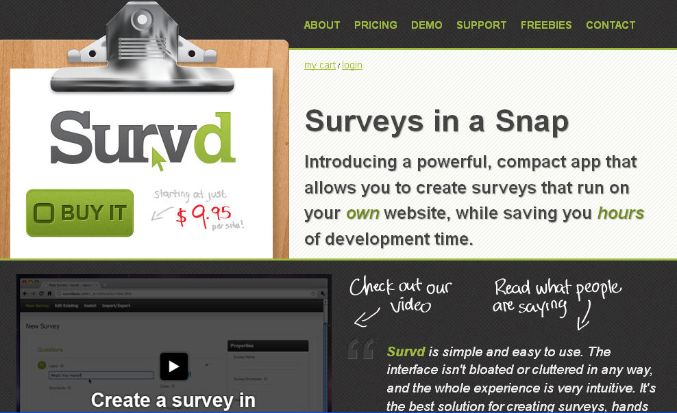 Home _ Survd - Online Survey Software for Your Website, with No Monthly Fee