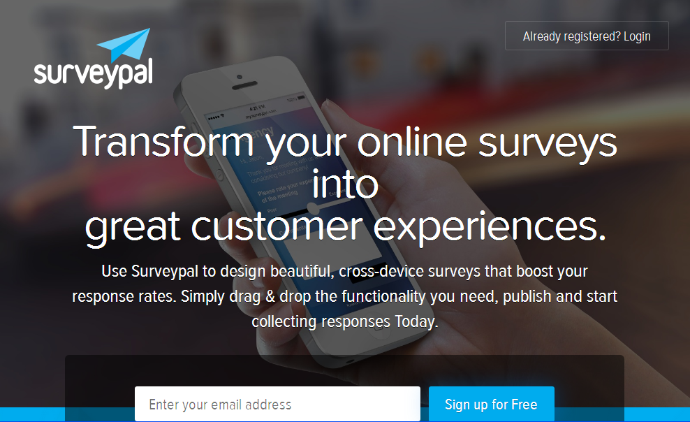 Sign up for Free - Surveypal Feedback Automation