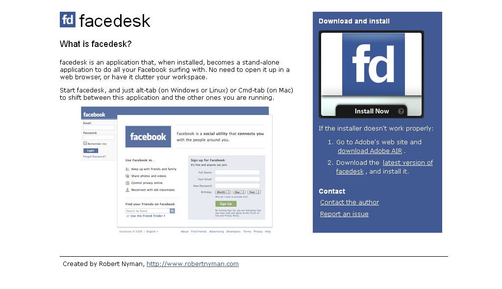 facedesk - find friends, reconnect and share on Facebook, now with a stand-alone installable application