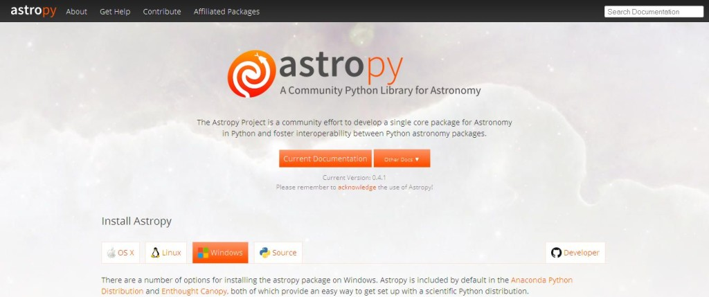 Astropy python library package