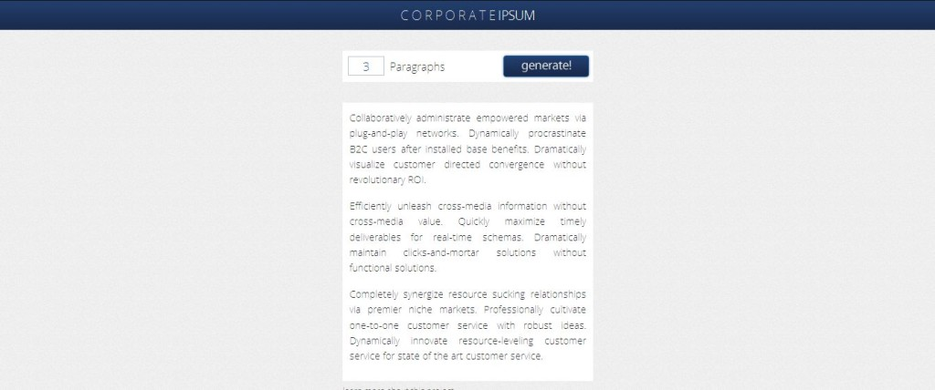 Corporate Ipsum, The Intelligent Text Generator