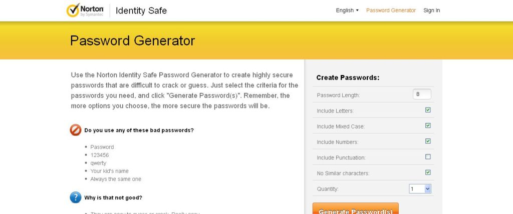 Create Safe & Secure Passwords - Password Generator I Norton Identity Safe