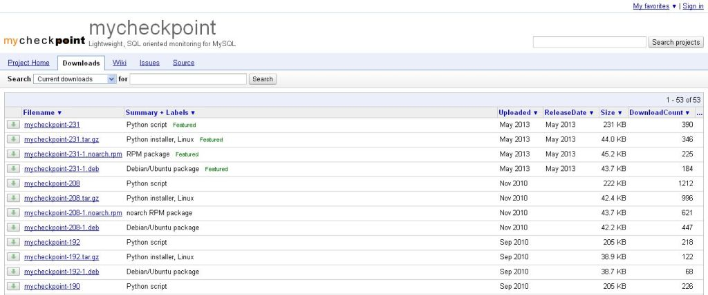 Downloads - mycheckpoint - Lightweight, SQL oriented monitoring for MySQL - Google Project Hosting