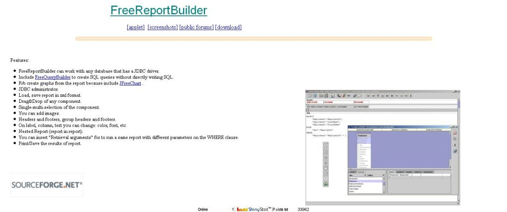 FreeReportBuilder java report tool