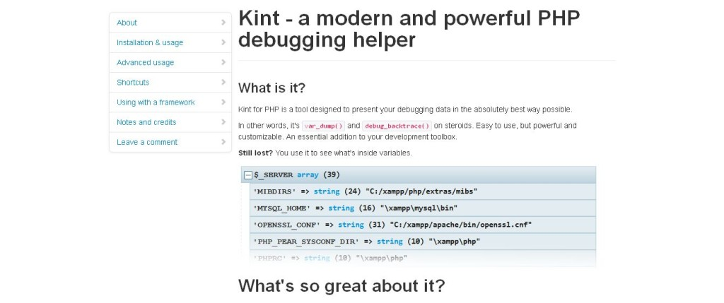 Kint, a debugging tool for PHP