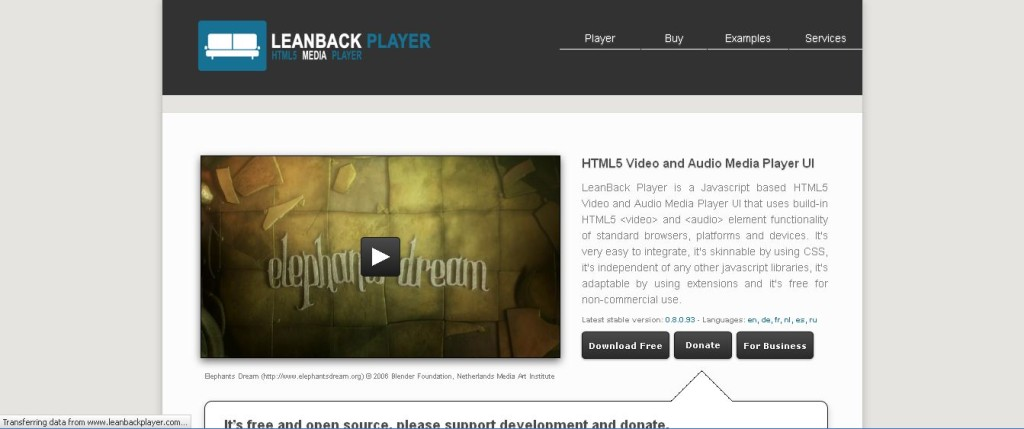 LeanBack Player I HTML5 Video and Audio Media Player UI