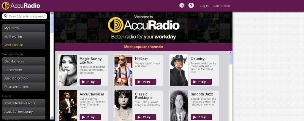 Most popular channels Free Online Radio I AccuRadio_com