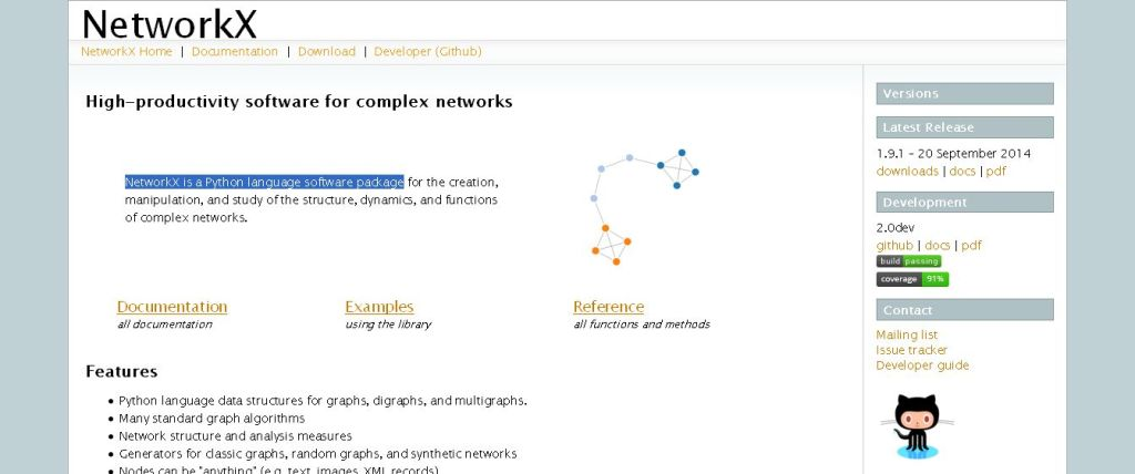 NetworkX is a Python language software package