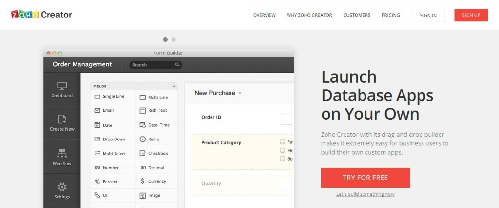 Online database apps in minutes Try for Free - Zoho Creator