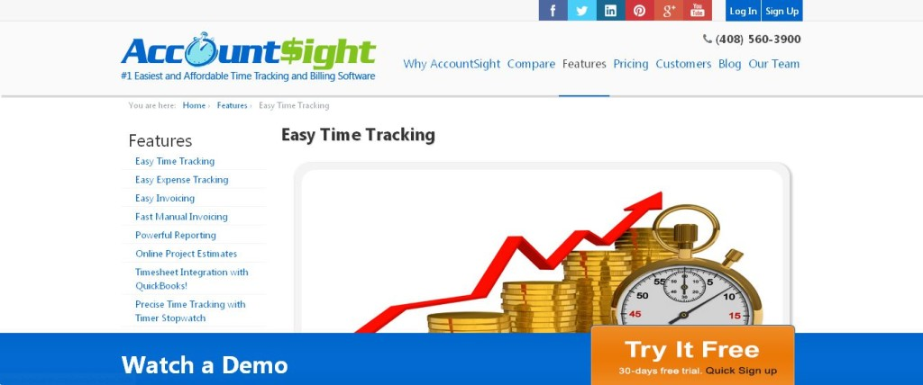 Online time tracking software unique features accountsight_
