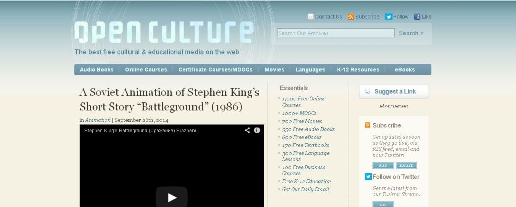 The best free cultural & educational media on the web - Open Culture