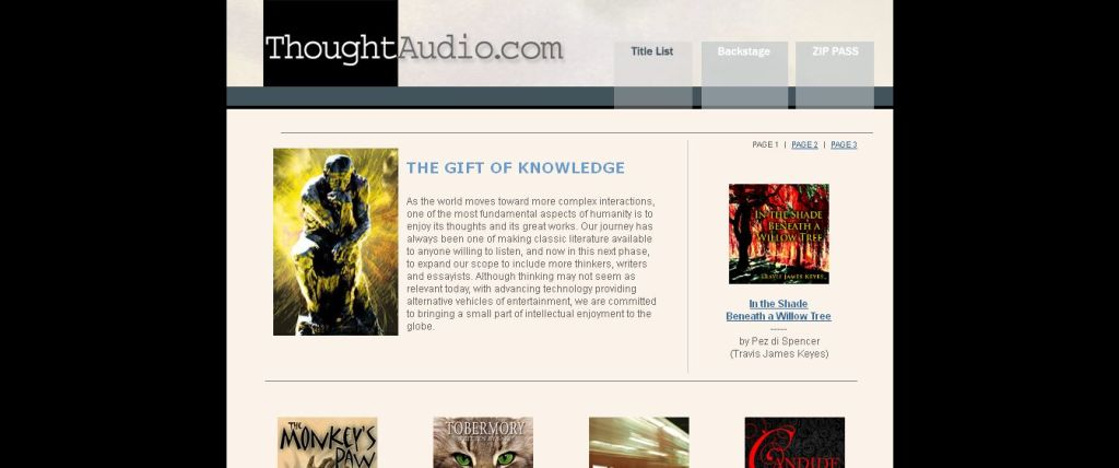 ThoughtAudio_com - an audio book publisher providing audio book downloads of philosophy and classic literature titles