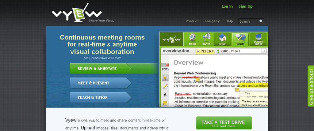 Vye web meeting program