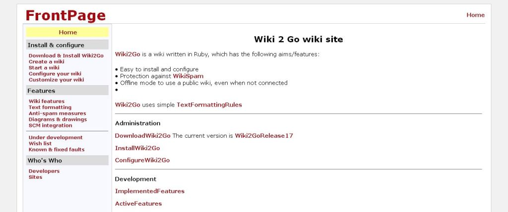 Wiki2Go -FrontPage