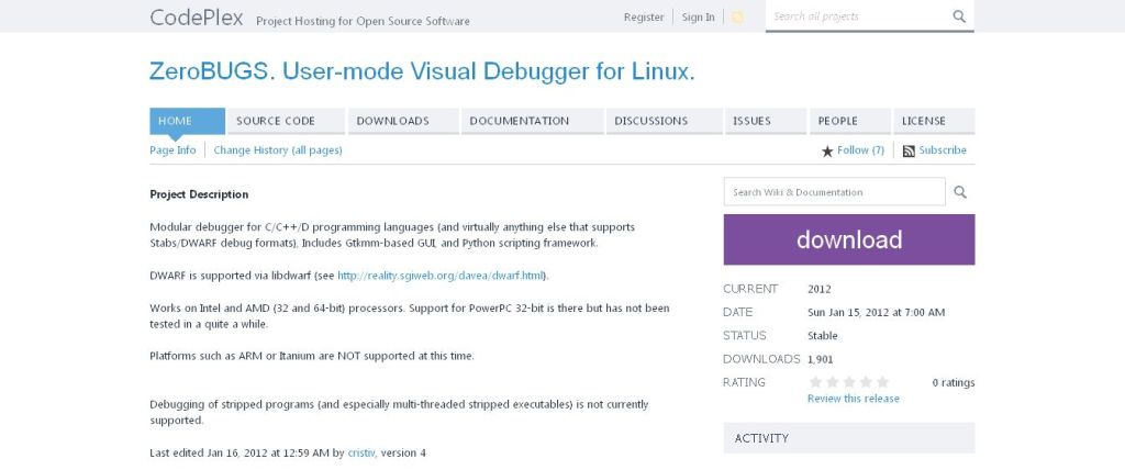 ZeroBUGS_ User-mode Visual Debugger for Linux