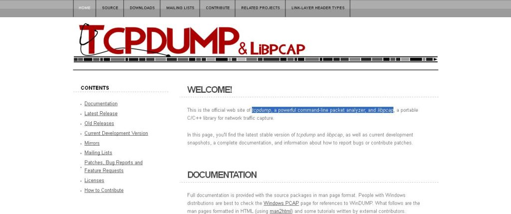 tcpdump, a powerful command-line packet analyzer; and libpcap